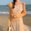 Dress Summer 2021 Suspender skirt, coat S. M, average size longuette Two piece set Long sleeves commute V-neck Elastic waist Decor Socket other shirt sleeve 31% (inclusive) - 50% (inclusive) polyester fiber