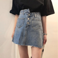skirt Summer 2021 S,M,L Denim blue Short skirt commute High waist A-line skirt Solid color Type A 18-24 years old 976# 51% (inclusive) - 70% (inclusive) Denim Other / other cotton Asymmetry Korean version