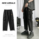 Casual pants Others Youth fashion Black, sky blue, gray, light green S. M, l, XL, 2XL, 3XL, 4XL, 5XL, XS plus small routine Ninth pants Other leisure easy Micro bomb youth tide 2020 middle-waisted Little feet Polyester 100% Overalls Sticking cloth No iron treatment Solid color other