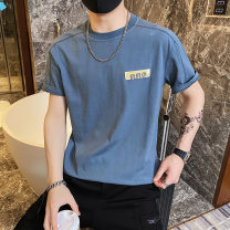 T-shirt Youth fashion Black, white, blue routine S. M, l, XL, 2XL, 3XL, XS plus small Others Short sleeve Crew neck Self cultivation Other leisure summer Polyester 100% teenagers routine Exquisite Korean style 2021