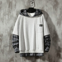 Sweater Youth fashion Others Gray, blue S,M,L,XL,2XL,XS lattice Socket routine Hood autumn easy leisure time teenagers tide Cotton 50% polyester 50% Color matching