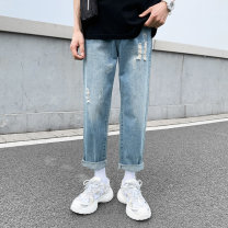 Jeans Youth fashion Others 27,28,29,30,31,32,33,34,36,26 plus small blue routine No bullet Regular denim trousers Other leisure Four seasons teenagers Medium low back Loose straight tube Youthful vigor 2021 Straight foot zipper washing hole