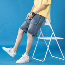 Jeans Youth fashion Others S. M, l, XL, 2XL, 3XL, 4XL, 5XL, XS plus small blue routine No bullet Regular denim Shorts (up to knee) Other leisure summer Large size middle-waisted Fitting straight tube tide 2020 Straight foot zipper washing Multiple pockets Cotton ammonia