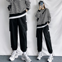 Casual pants Others Youth fashion black S. M, l, XL, 2XL, XS plus small routine Ninth pants Other leisure easy spring teenagers Japanese Retro 2021 High waist Little feet Overalls pocket Solid color cotton cotton Less than 30%