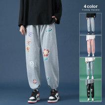 Casual pants Others Youth fashion Light blue, pink, black, light gray S. M, l, XL, 2XL, 3XL, 4XL, 5XL, XS plus small routine trousers Other leisure easy Four seasons teenagers Youthful vigor 2021 Little feet Sports pants