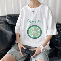 T-shirt Fashion City White, pink, green routine M. L, XL, 2XL, 3XL, 4XL, 5XL, XS plus small, s Others Short sleeve Crew neck standard Other leisure Four seasons youth routine Sweat cloth 2021 Solid color cotton Cartoon animation More than 95%