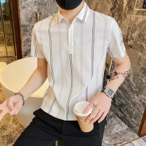 Polo shirt Other / other Youth fashion routine Black, white S. M, l, XL, 2XL, 3XL, XS plus small Self cultivation Other leisure summer Short sleeve Exquisite Korean style routine teenagers Polyester 100% 2021 stripe