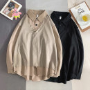 shirt Youth fashion Others S. M, l, XL, 2XL, 3XL, XS plus small Black, Khaki routine Pointed collar (regular) Long sleeves easy Other leisure Four seasons Cotton 100% 2020 Splicing