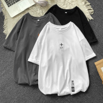 T-shirt Youth fashion Black, white, grey routine S. M, l, XL, 2XL, 3XL, XS plus small Others Short sleeve Crew neck easy Other leisure summer Cotton 100% teenagers routine tide other cotton No iron treatment