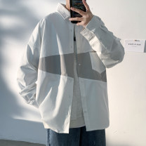 shirt Youth fashion Others M. L, s, XL, 2XL, 3XL, XS plus small, 4XL, 5XL White, black, khaki routine square neck Long sleeves easy Other leisure autumn youth tide 2021 Solid color Plaid No iron treatment cotton Color matching Easy to wear More than 95%