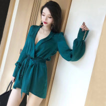Casual pants blackish green S, M Autumn of 2018 shorts Wide leg pants High waist routine 18-24 years old 91% (inclusive) - 95% (inclusive) belt