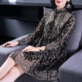 Dress Spring of 2018 Decor SMLXL2XL3XL Mid length dress singleton  Long sleeves commute Lotus leaf collar middle-waisted Decor Socket other routine Others 30-34 years old Type H Miken Ol style Bow, ruffle, flocking, pleating, lace up, button printing seventy-one thousand two hundred and twenty-one