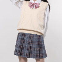 skirt Winter 2020 XS,S,M,L,XL A island Sichuan skirt, B Island Sichuan skirt, island Sichuan flat angle bow tie, island Sichuan diagonal bow tie, island Sichuan small long handle bow tie Short skirt Retro Natural waist Pleated skirt lattice Type H 18-24 years old 1438-14 Kyouko