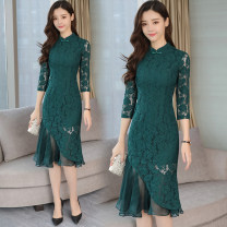 Dress Spring 2021 Green, red, black M,L,XL,2XL Mid length dress singleton  three quarter sleeve commute stand collar middle-waisted Solid color Socket Irregular skirt routine Type H lady 31% (inclusive) - 50% (inclusive) Lace