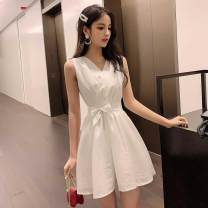 Dress Summer of 2019 White, orange, bean green S,M,L,XL Short skirt singleton  Sleeveless commute V-neck middle-waisted Solid color zipper Big swing other Others 18-24 years old Type A Other / other Korean version 6A7.285C5NZzP3