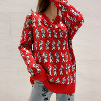 sweater Winter of 2018 S,M,L Long sleeves Socket singleton  Regular cotton 51% (inclusive) - 70% (inclusive) V-neck Regular commute routine Cartoon animation Straight cylinder Fine wool Keep warm and warm cotton