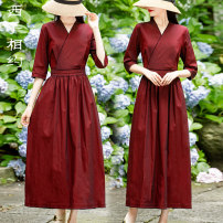 Dress Summer 2021 gules M L XL XXL Mid length dress singleton  elbow sleeve commute V-neck middle-waisted Solid color Socket A-line skirt routine 30-34 years old Type X Xizi meet Retro Three dimensional decoration with lace up pocket X2104XS526 51% (inclusive) - 70% (inclusive) cotton