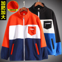 Plain coat Moregoto / Mushroom rabbit male 140cm (about 75kg), 150cm (about 95kg), 160cm (about 115KG), 170cm (about 135kg), 180cm (about 150kg) Orange + Navy, black + blue spring and autumn leisure time Zipper shirt No model routine nothing Solid color flannelette other B2097X Polyester 100% Class B