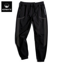 Casual pants KERWATS Youth fashion black XL 3XL 4XL 5XL 6XL XXL M L routine trousers Other leisure easy Micro bomb KWS64k005-72 Four seasons Large size tide 2019 middle-waisted Little feet Cotton 95% polyurethane elastic fiber (spandex) 5% Sports pants Geometric pattern cotton Summer of 2019