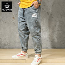 Jeans Youth fashion KERWATS XL 2XL 3XL 4XL 5XL 6XL grey routine Micro bomb Regular denim A003 Ninth pants Cotton 75% polyurethane elastic fiber (spandex) 2% others 23% spring Large size middle-waisted Slim feet tide 2019 Little straight foot zipper Stone washing / grinding Splicing style cotton