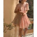 Dress Summer 2021 White, pink Average size Short skirt singleton  Short sleeve commute Crew neck Loose waist Solid color Socket Cake skirt routine 25-29 years old Type H Korean version 30% and below Chiffon cotton