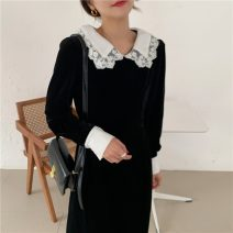 Dress Autumn 2020 black S, M Mid length dress singleton  Long sleeves commute Doll Collar High waist Solid color Socket other routine Others 18-24 years old Korean version Splicing 71% (inclusive) - 80% (inclusive) other other