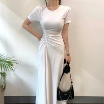 Dress Summer 2021 White, black Average size longuette singleton  Short sleeve commute Crew neck Solid color Socket Others 18-24 years old Korean version 71% (inclusive) - 80% (inclusive)