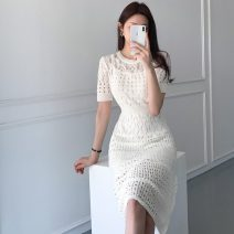 Dress Summer 2020 Light blue, dark blue, white, black Average size Middle-skirt Two piece set Short sleeve commute Crew neck High waist Solid color Socket other other Others 18-24 years old Type H Korean version 71% (inclusive) - 80% (inclusive) other cotton