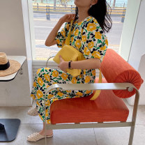 Dress Summer 2020 Picture color Average size Mid length dress singleton  Long sleeves Sweet Crew neck Loose waist Decor Socket puff sleeve Others 18-24 years old 51% (inclusive) - 70% (inclusive) other