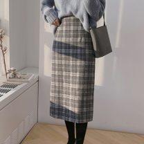 skirt Winter 2020 S,M,L,XL Grey lattice Mid length dress Versatile High waist A-line skirt lattice Type A 18-24 years old 71% (inclusive) - 80% (inclusive) Wool acrylic fibres