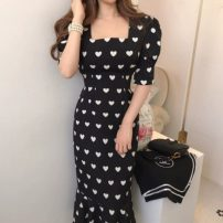 Dress Spring 2020 black S,M,L Mid length dress singleton  Short sleeve commute square neck High waist other zipper Ruffle Skirt Others 18-24 years old Type H Korean version Bandage 71% (inclusive) - 80% (inclusive)