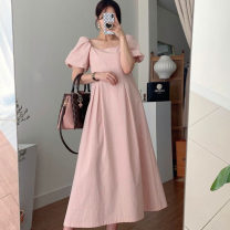 Dress Summer 2021 Apricot, pink Average size Mid length dress singleton  Long sleeves commute square neck Solid color Socket Others 18-24 years old Korean version 71% (inclusive) - 80% (inclusive)