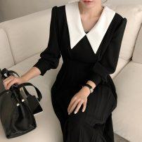 Dress Autumn 2020 black S,M,L Mid length dress singleton  Long sleeves commute V-neck High waist Socket Others 18-24 years old Type A Korean version More than 95%