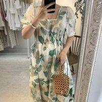 Dress Summer 2021 Picture color Average size Mid length dress singleton  Long sleeves commute square neck Solid color Socket routine Others 18-24 years old Korean version Splicing 71% (inclusive) - 80% (inclusive)