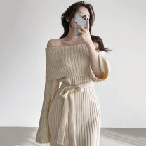 Dress Autumn 2020 Off white, pink, black Average size Short skirt singleton  Long sleeves commute One word collar stripe Socket Others 18-24 years old Korean version 71% (inclusive) - 80% (inclusive) other
