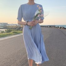 Dress Summer 2020 blue S,M,L,XL Mid length dress singleton  Short sleeve commute Crew neck High waist Solid color Pleated skirt routine Others 18-24 years old Type A Korean version 71% (inclusive) - 80% (inclusive)