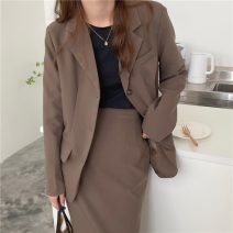 Fashion suit Spring 2021 Coffee jacket one size, black jacket one size, coffee skirt s, coffee Skirt M, black skirt s, Black Skirt M Look at the options 18-25 years old 71% (inclusive) - 80% (inclusive) nylon