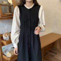 Dress Autumn 2021 black Average size Mid length dress singleton  Long sleeves commute Crew neck Single breasted Others 18-24 years old Korean version 71% (inclusive) - 80% (inclusive)