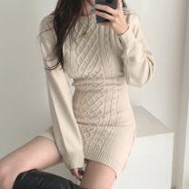 Dress Spring 2021 Apricot, black Average size Short skirt singleton  Long sleeves commute Crew neck stripe Socket Others 18-24 years old Korean version 71% (inclusive) - 80% (inclusive)