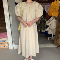 Dress Summer 2021 Medium length skirt singleton  Short sleeve commute Crew neck Solid color Condom 18-24 years old 71% (inclusive) - 80% (inclusive) Other Korean version One size fits all
