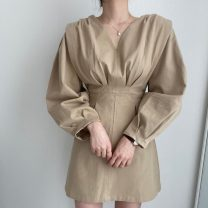 Dress Spring 2021 Light beige, Dark Beige Average size Short skirt singleton  Long sleeves commute V-neck Solid color Socket bishop sleeve Others 18-24 years old Korean version 71% (inclusive) - 80% (inclusive)
