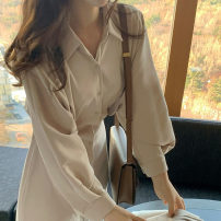 Dress Spring 2021 Apricot, Navy, black S,M,L,XL Mid length dress singleton  Long sleeves commute Polo collar Solid color Single breasted Others 18-24 years old Korean version 71% (inclusive) - 80% (inclusive)