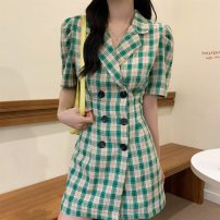 Dress Summer 2021 Green grid, purple grid S,M,L,XL Short skirt singleton  Short sleeve commute tailored collar High waist lattice double-breasted A-line skirt puff sleeve Others 18-24 years old Type A Korean version Button 31% (inclusive) - 50% (inclusive) other polyester fiber