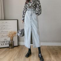 skirt Spring 2021 S,M,L Light blue, dark blue longuette Versatile High waist skirt Solid color Type H 25-29 years old 81% (inclusive) - 90% (inclusive) Denim cotton Pleats, pockets, buttons, zippers