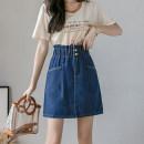 skirt Spring 2021 S,M,L,XL,2XL,3XL,4XL,5XL Dark blue, gray Short skirt Versatile High waist A-line skirt Solid color Type A 25-29 years old 81% (inclusive) - 90% (inclusive) Denim cotton Pocket, button, zipper