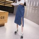 skirt Summer 2021 S,M,L,XL,2XL,3XL,4XL,5XL navy blue Mid length dress sexy High waist skirt Solid color Type H 18-24 years old 71% (inclusive) - 80% (inclusive) Denim cotton Pocket, asymmetric, button, zipper