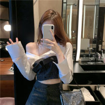 Women's large Autumn 2020 Black stripe suit XXXXL M L XL 2XL 3XL Other oversize styles Two piece set commute Self cultivation moderate Socket Long sleeves Korean version Polo collar have cash less than that is registered in the accounts other KBL8619C101 Kabelin 18-24 years old Short skirt other