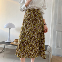 skirt Spring 2021 9812-M,9812-L Black, brown Middle-skirt commute High waist A-line skirt Decor Type A 18-24 years old 71% (inclusive) - 80% (inclusive) other other printing lady