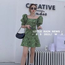 Dress Autumn 2020 Green, black S, M Short skirt singleton  Short sleeve commute square neck High waist Leopard Print Socket One pace skirt puff sleeve camisole 18-24 years old Type A polyester fiber