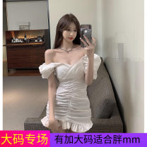 Women's large Summer 2021 White, black Dress singleton  commute Self cultivation moderate Socket Short sleeve Solid color Korean version V-neck other Three dimensional cutting puff sleeve Others 18-24 years old 71% (inclusive) - 80% (inclusive) Short skirt other